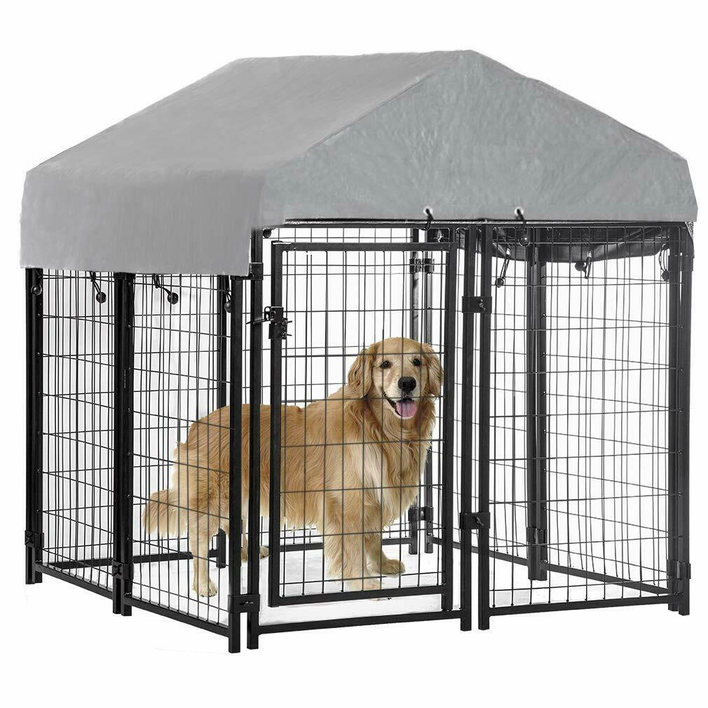 4'x4'x4.3′ OutDoor Heavy Duty Playpen Welded Dog Kennel w/ Water-Resistant Cover Cages & Crates