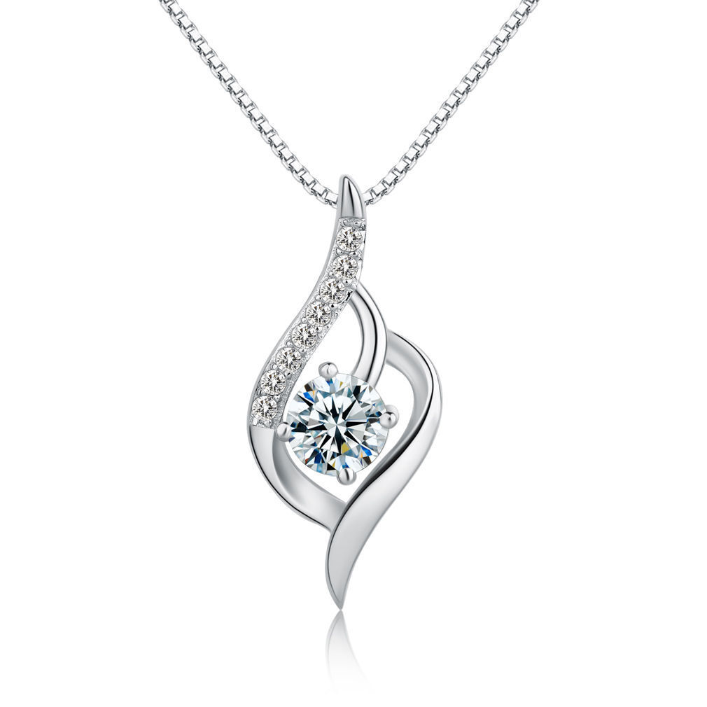 Jewellery - Foxtail Pendant Chain Necklace 925 Sterling Silver Womens Crystal Jewellery Gift
