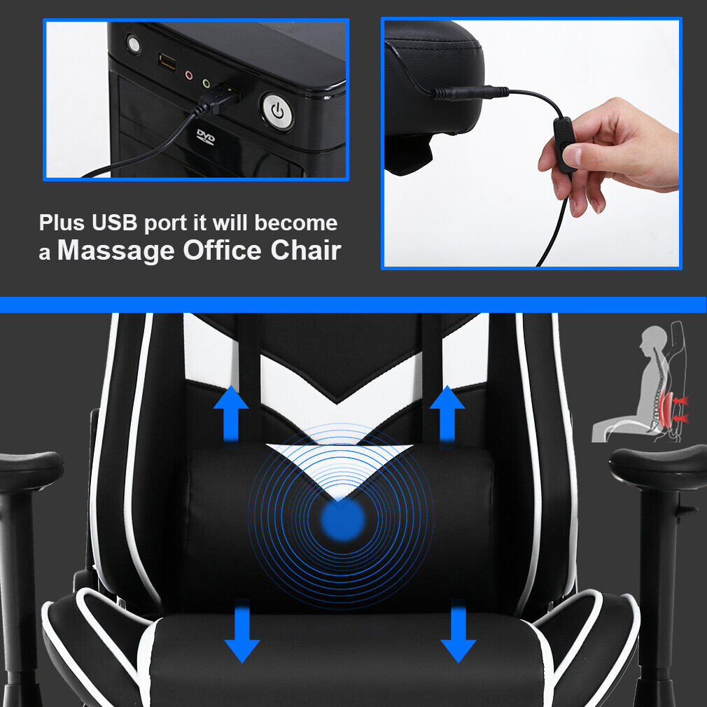 Gaming Chair Office Chair Computer Chair with Lumbar Support Footrest Armrest Business & Industrial