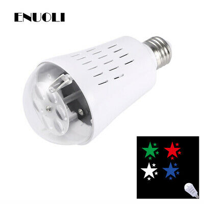 LED Bulb Star Pattern Projector Light E27 Rotating for Party Xmas Bar Decor Lamp ()