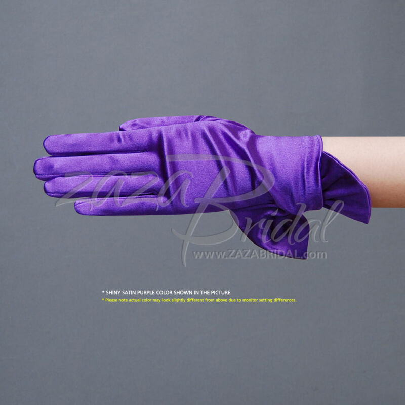 Shiny Stretch Satin Gloves with cute Adjustable Bow