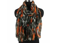 Brand New Large Size Scarf Leopard Print with Orange Heart