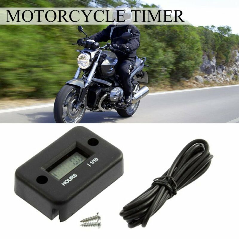 1X Digital LCD Motorcycle ATV Bike Waterproof Hour Meter Gauge Timer Tool Black