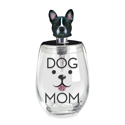 Dog Mom Midnight Black 16 ounce Zinc Metal Stemless Wine Glass Stopper Set