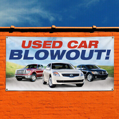 Vinyl Banner Sign Used Car Blowout Auto Car Vehicle Style R Outdoor Aqua-blue