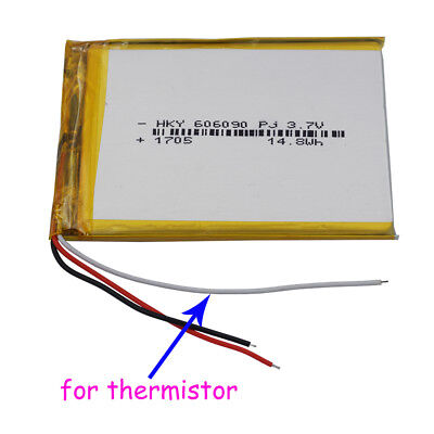 3.7V 4000mAh 3 wires 606090 Polymer Li Battery for thermistor For iPod Tablet PC