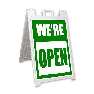 Were Open Signicade A-frame Sign Sidewalk Sandwich Pavement Street Sign