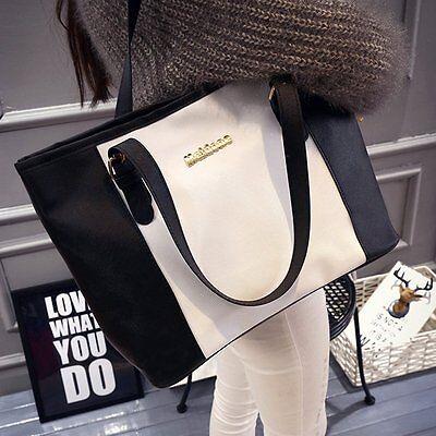 Damenhandtasche Handtasche Schulter Shopper Damen Tasche Schwarz & Weiss *