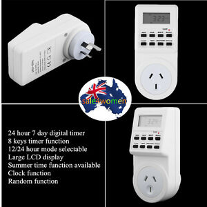 7 Day Digital Electronic LCD Plug-in 12/24 Hour Timer Switch AU Plug Socket KS