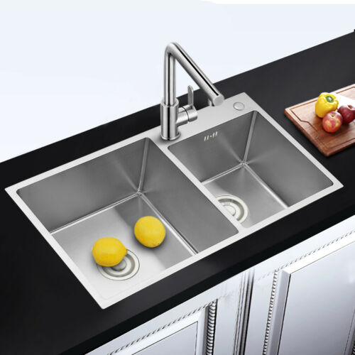 Edelstahl Küchenspüle Spülbecken Spüle Doppelspüle Einbauspüle mit Abtropffläche