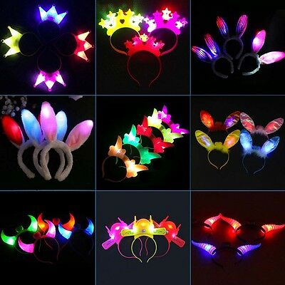New LED Devil Horns Flashing Novelty Light-Up Headband Halloween&Christmas Party - Plastic Devil Horns
