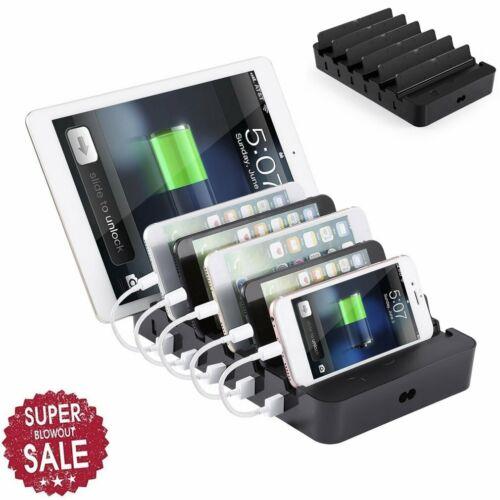 6Port Multi USB Docking-Station Ladestation Ladegeräte Ladung für Handy Tablet D