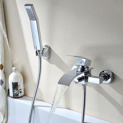 Bad Wannenarmatur Duscharmatur Badwanne Wasserhahn Duschset mit Handbrause Chrom