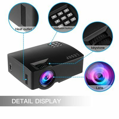 LESHP 1080P Multimedia Projector LED Home Theater HDMI USB Eye-protection MA