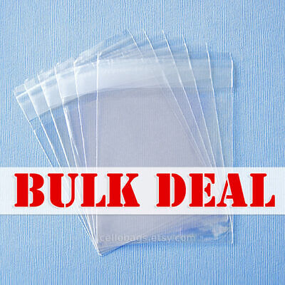 Bulk Deal 1000-pack1.5 Mil Resealable Cello Bags Wholesale Lip Tape Clear