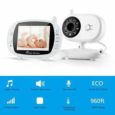 "2.4GHz 3.5"" Wireless Digital LCD Baby Monitor Audio Video Night Vision Camera HM"