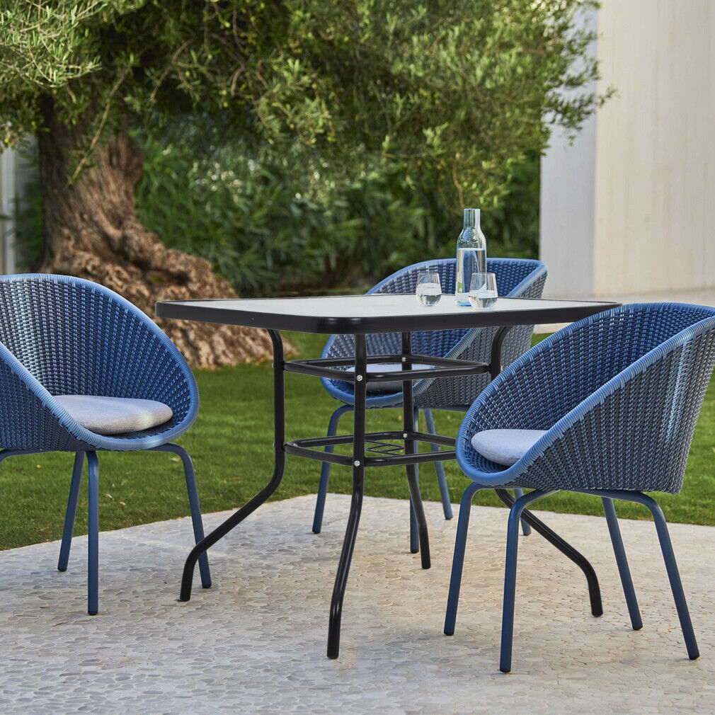 32in Outdoor Table Patio Table With Umbrella Hole Patio Dining Table Home & Garden