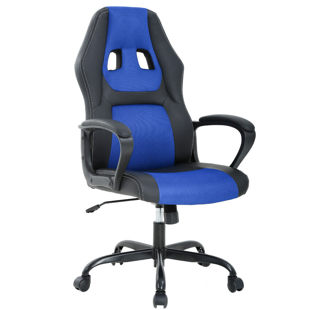 Office Chair Gaming Chair Desk Ergonomic Leather Computer Chair w Metal Base Furniture