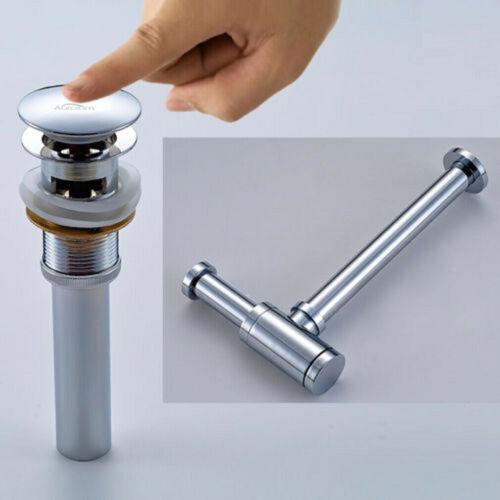 Siphon Pop-Up Ablaufventil Push-Up Ablaufgarnitur Waschbecken mit Überlauf DHL