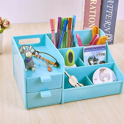 Blue Office Home Plastic Desk Pen Pencil Holder Storage Box Drawer Organizer B