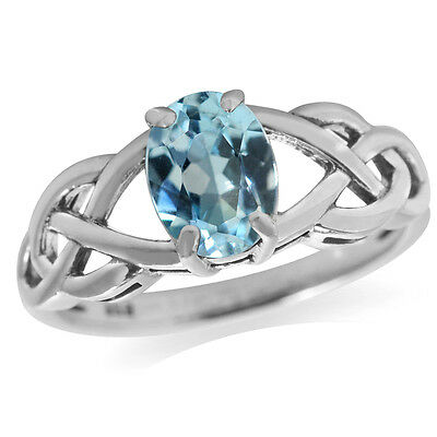 1.5ct. Genuine Blue Topaz 925 Sterling Silver Celtic Knot Solitaire Ring