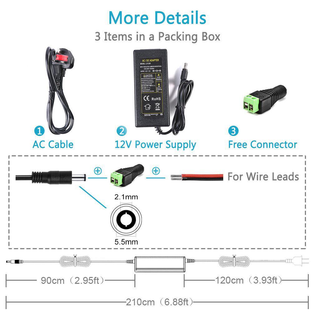 dc 12v 3a 5a power supply ac adaptor transformer for 3528 5050 rgb led strip uk