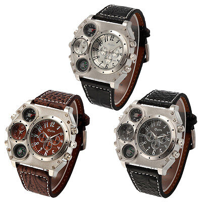 $13.38 - Luxury Quartz Sport Military Stainless Steel Dial Leather Band Wrist Watch Men