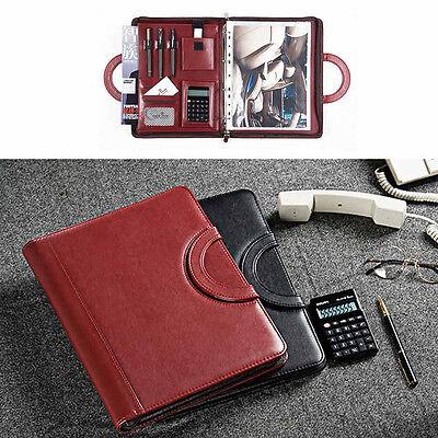A4 Leather Business Organiser Looseleaf File Card Briefcase Storage Caculator