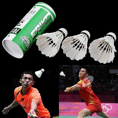 3pcs NEW Game Sport Training White Duck Feather Shuttlecocks Badminton Ball BS
