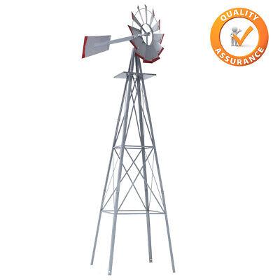 Windmill 8FT Yard Garden Metal Ornamental Wind Mill Weather Vane ()