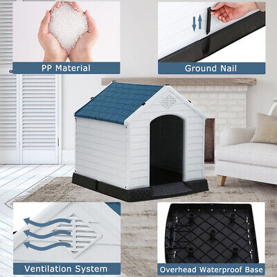 Dog House Indoor Outdoor Pet Kennel With Air Vents and Elevated Floor Ventilate Dog Houses