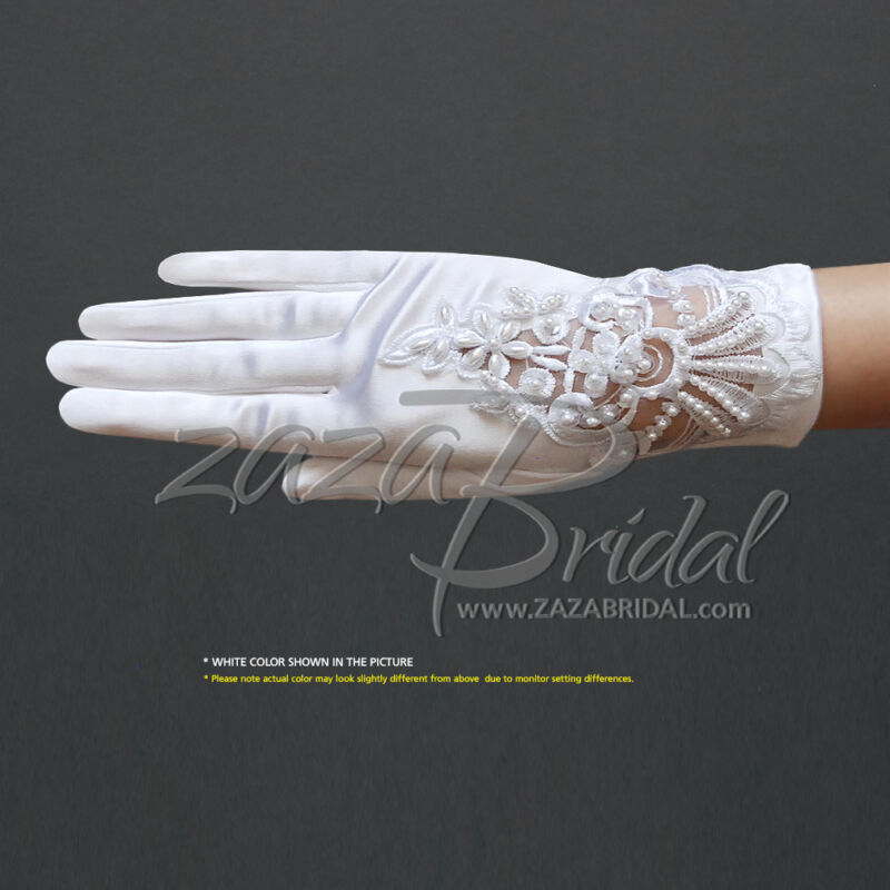 STRETCH SATIN GLOVES WITH A FLORAL EMBROIDERY LACE, SEQUINS AND BEADED PEARLS