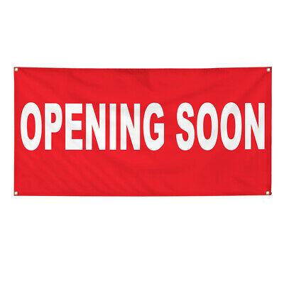 Vinyl Banner Multiple Options Opening Soon Red Background Business Coming Soon