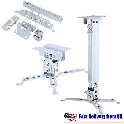 Universal Extendable Tilt DLP LCD Ceiling Projector Mount Bracket 44 lbs - White