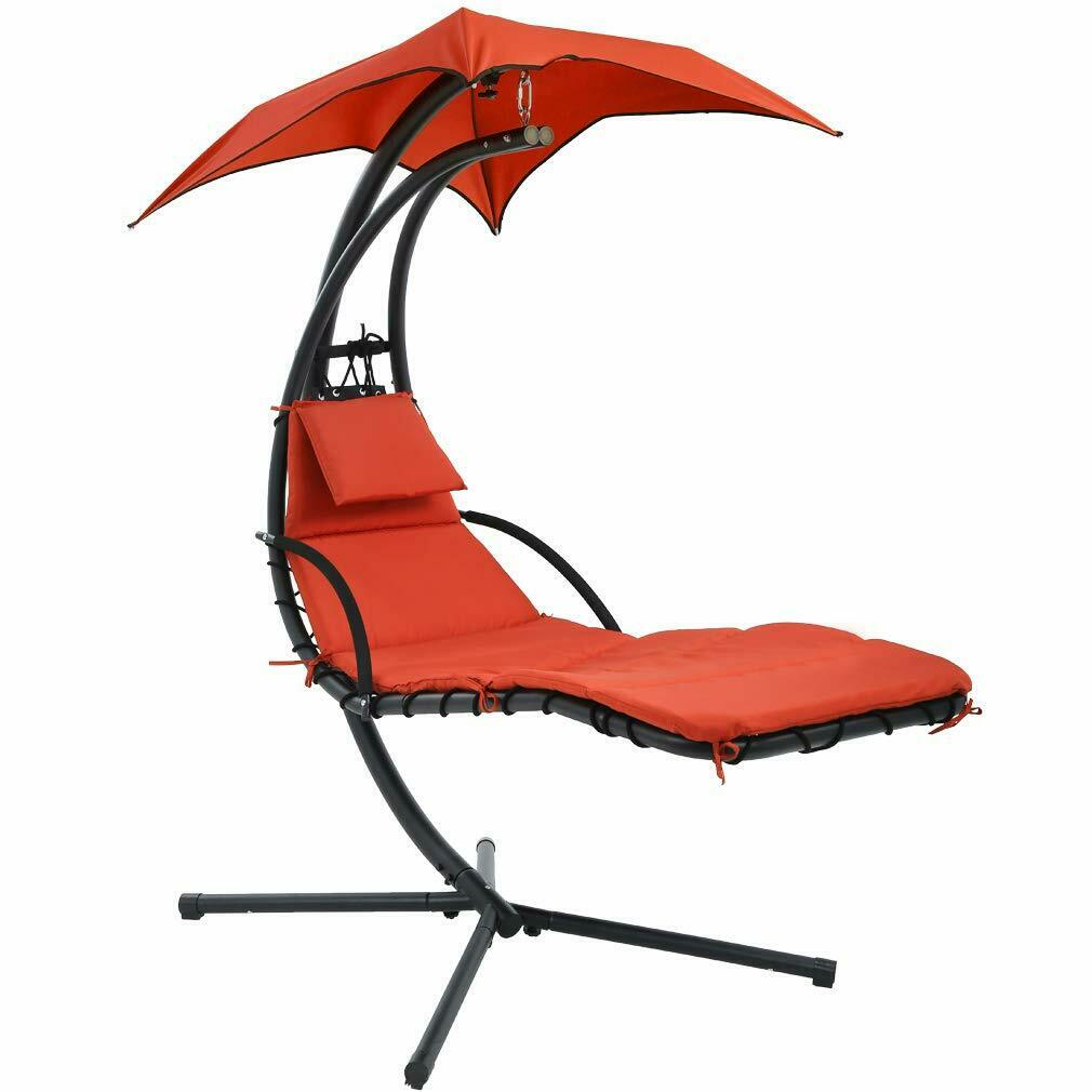 NEW Hanging Chaise Lounger Chair Arc Stand Air Porch Swing Hammock Chair Canopy Hammocks