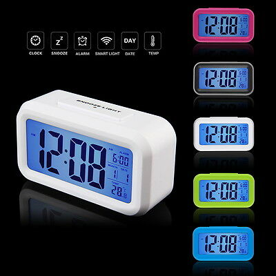 Snooze Electronic Digital Alarm Clock LED Light Control Thermometer new th