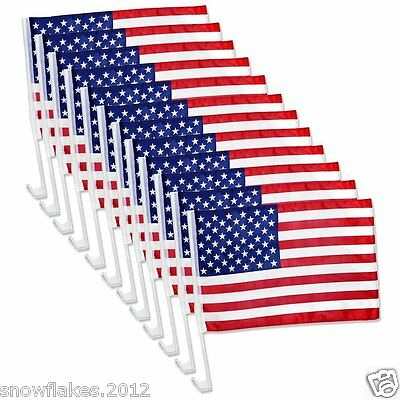 12pcs US American Patriotic Car Truck Window Clip USA Flag  18'' X 12''