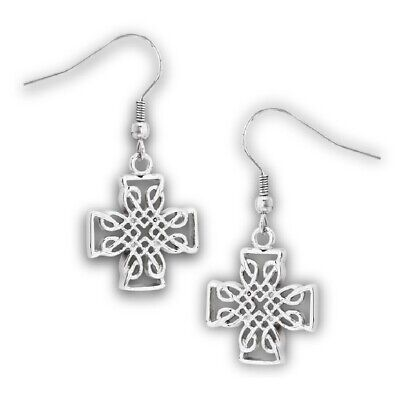 New Stainless Steel Celtic Cross Dangle French Wire Earrings
