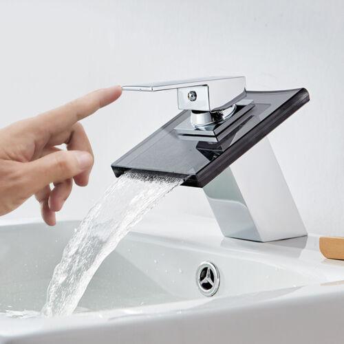 Waschtischarmatur Glas Wasserhahn Badarmatur Wasserfall Einhebelmischer Armatur