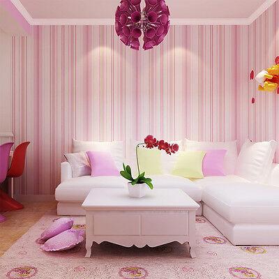 10m Roll Vertical Stripes Non-woven Wallpaper Simp Bedroom TV Living ...