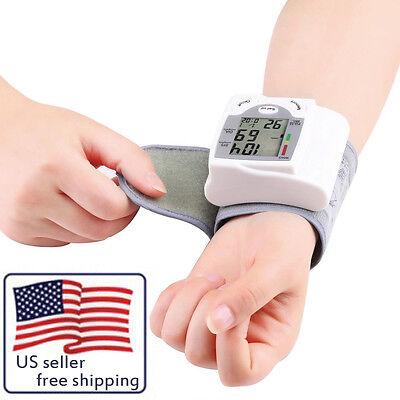 Digital LCD Wrist Blood Pressure Monitor Heart Beat Rate Pulse Meter Measure LC