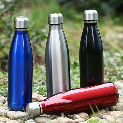 Thermoflasche: Doppelwandige Vakuum-Isolierflasche Edelstahl, 0,5 Liter Schwarz