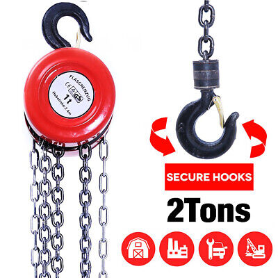 2 Ton Chain Hoist Block Winch Capacity Manual Lift Puller Fall Hand Tools Whook