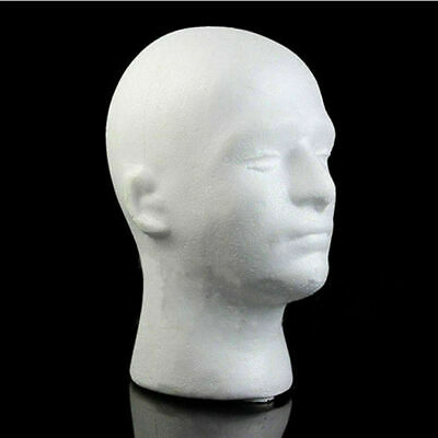 Male Styrofoam Foam Mannequin Manikin Head Model Wigs Glasses Hat Display White
