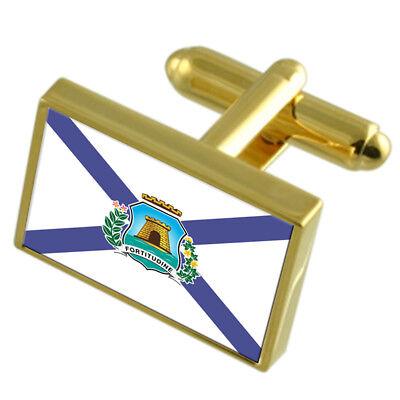 Zakynthos City Greece Sterling Silver Flag Cufflinks Engraved Box