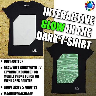 Glow Draw (INTERACTIVE DRAW ON GLOW IN THE DARK T-SHIRT - ADULT & CHILD SIZES)