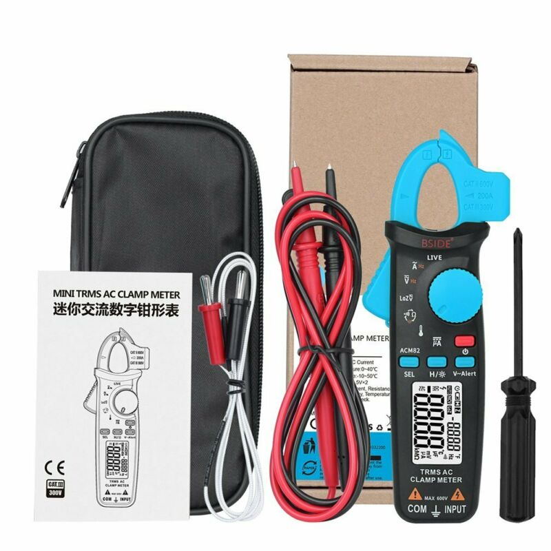 ACM82 TRMS AC Clamp Meter Auto-Ranging 6000 Count Current Frequency Tester BT