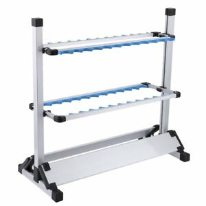 Fishing Rod Display Rack Aluminum Alloy Stands 24 Slots Ground Insert Holder New