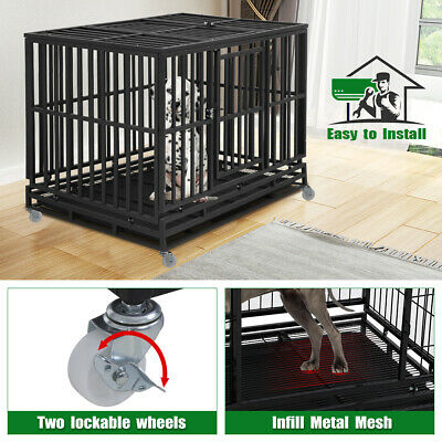 Dog Crate Dog Cage Dog Kennel  for Large Medium Dogs Heavy Duty 48 Inches Pet Cages & Crates