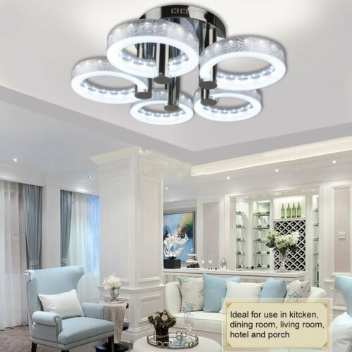 Modern 5LED Acrylic Ring Chandelier Flush Mount Ceiling Ligh